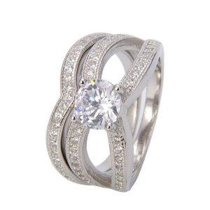 двоен пръстен с камък от кубичен цирконий